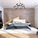 Оригинальная люстра и светильники в спальне