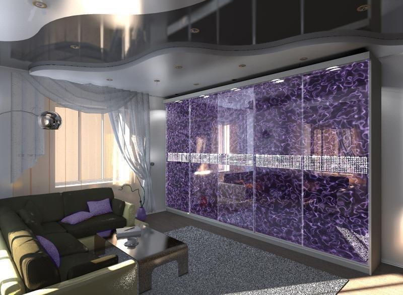 Стеклянные панели в гостиной