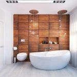 Красивый дизайн ванной с натуральным деревом