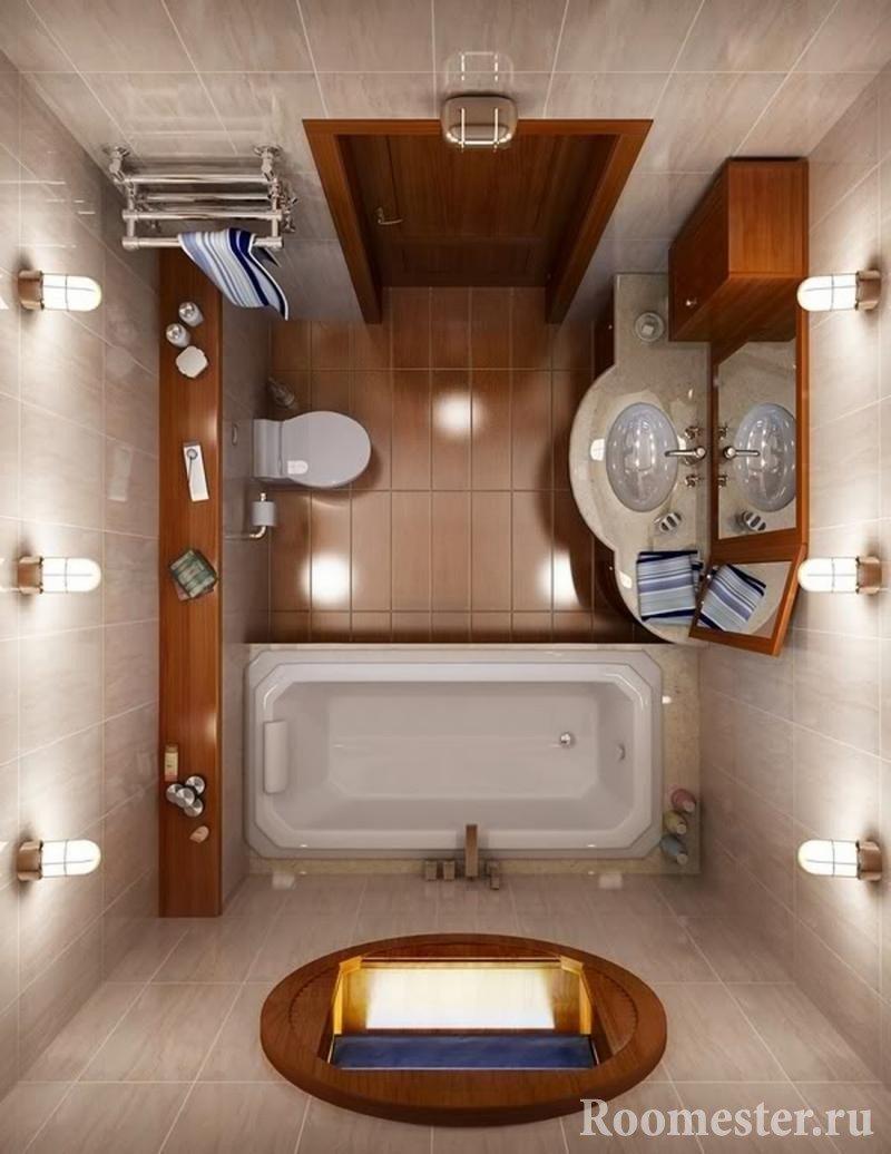 Освещение в ванной 5 кв м