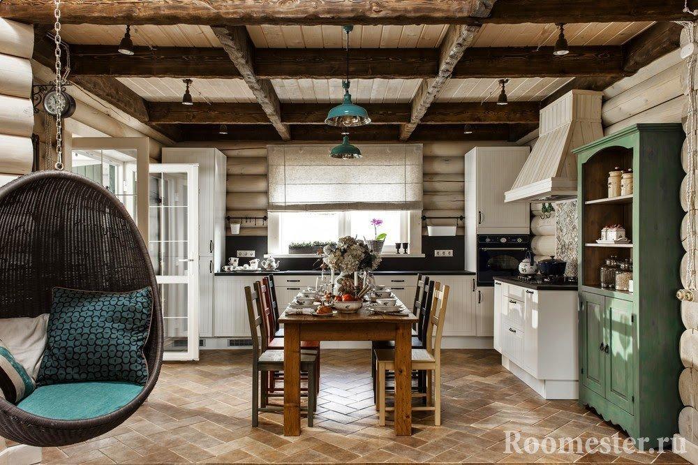 Подвесное кресло на кухне