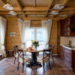 Лампы на потолке кухни
