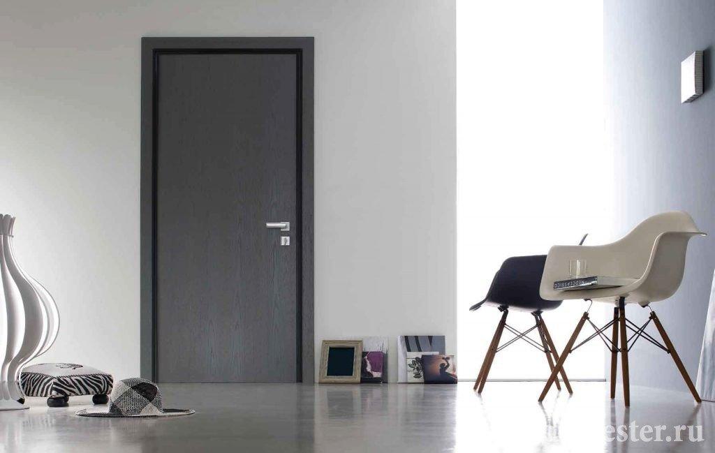 Дверь под цвет пола в интерьере