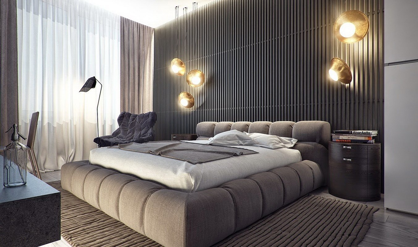 Оригинальные светильники в изголовье кровати