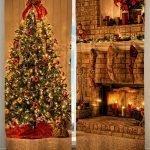 Новогоднее дерево и камин на шторах