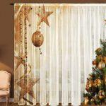 Кресло у окна с новогодней шторой