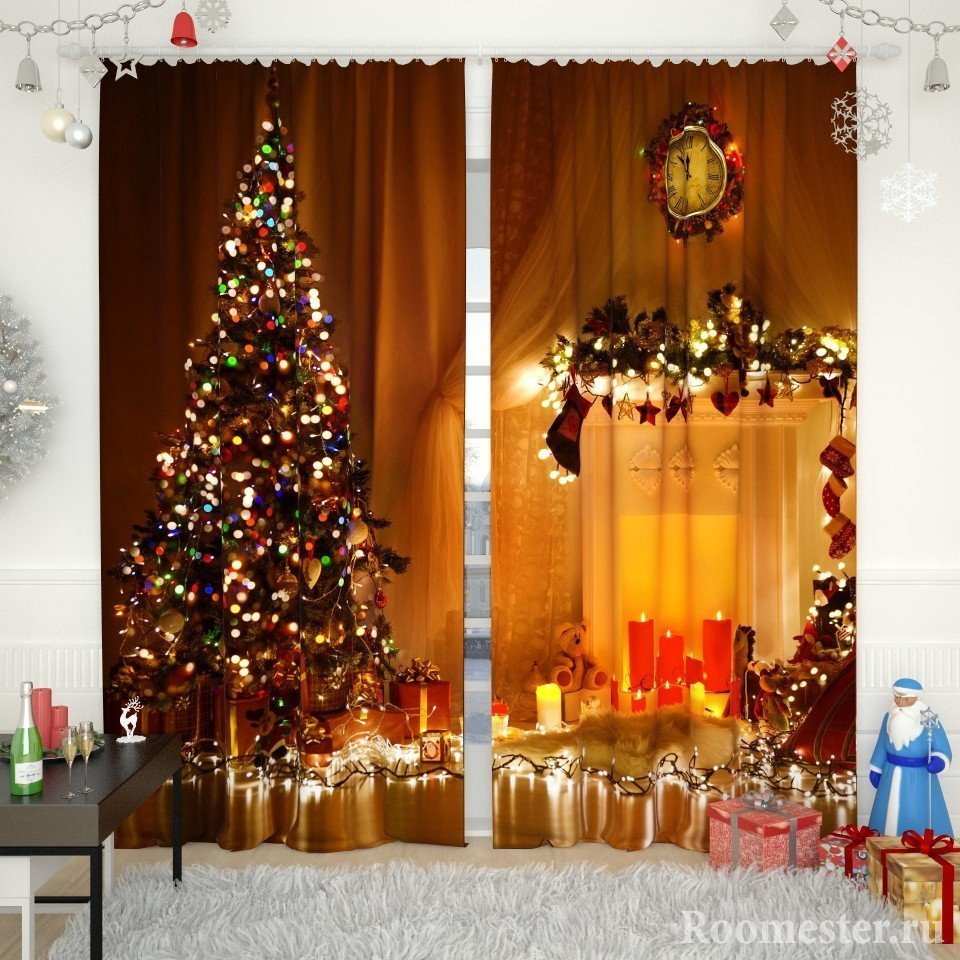 Подарки и Дед Мороз у окна