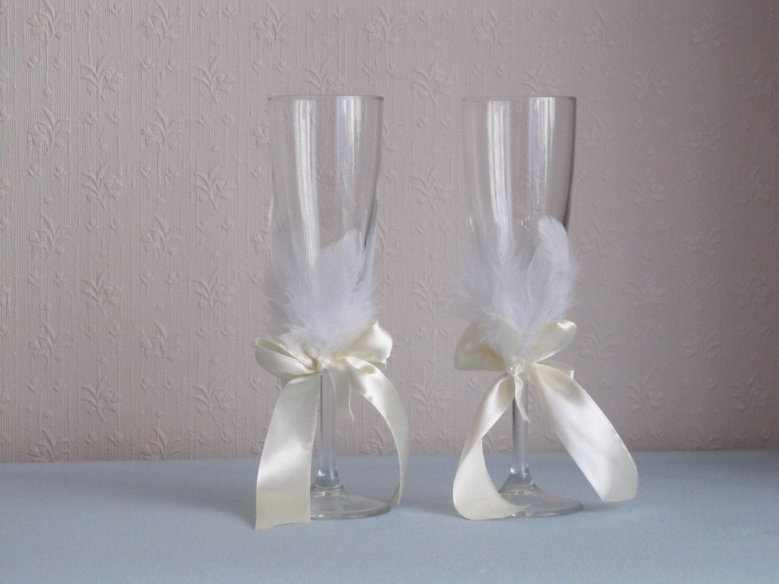 Как украсить бокалы на свадьбу 65