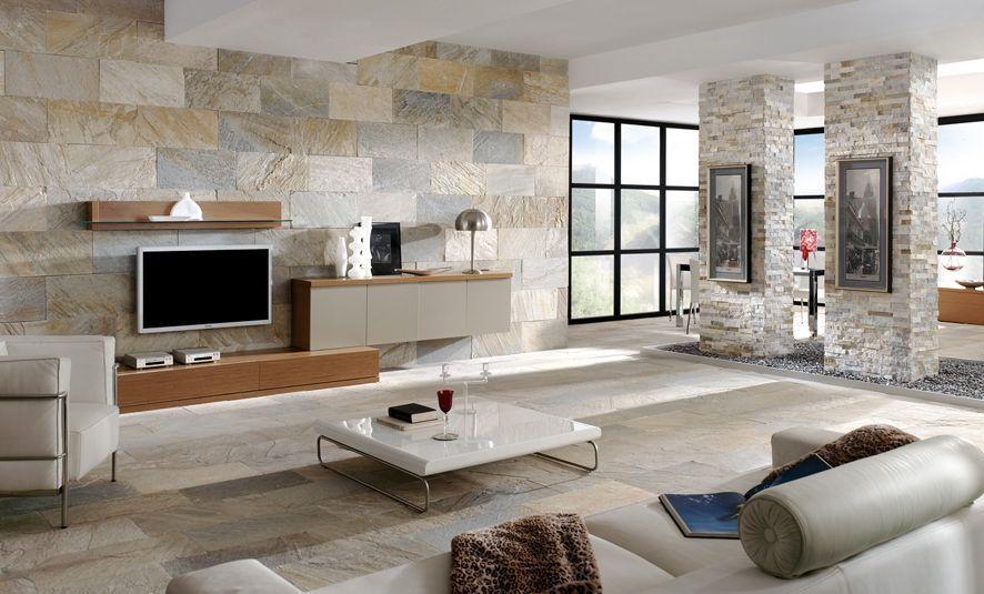 Керамическая плитка под камень в интерьере гостиной