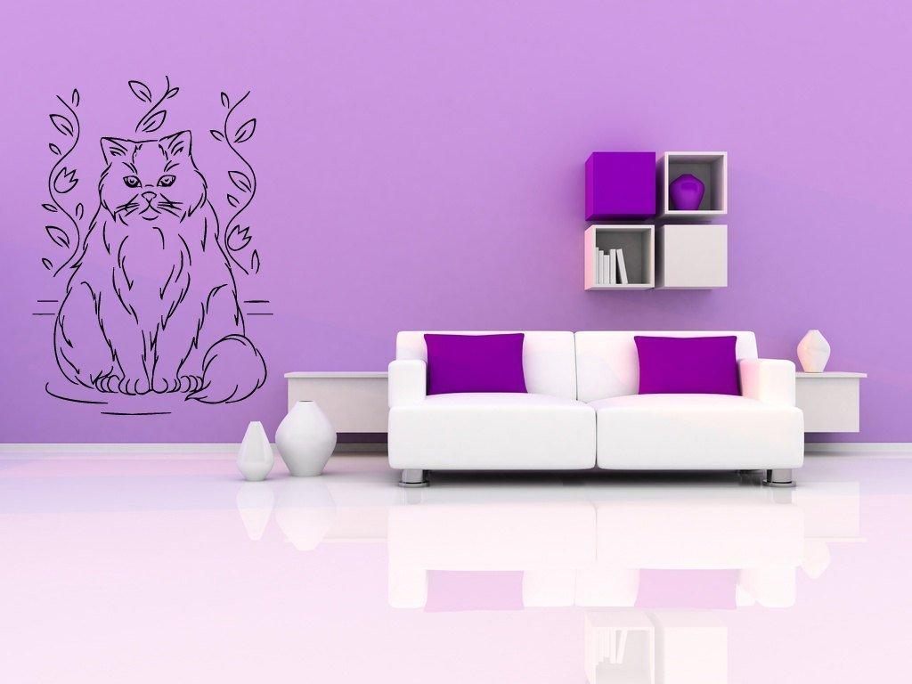 Белый диван в сиреневом интерьере