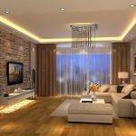 Потолок с подсветкой в интерьере гостиной