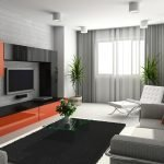 Оранжевые акценты в сером интерьере гостиной