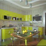 Лимонная мебель на кухне
