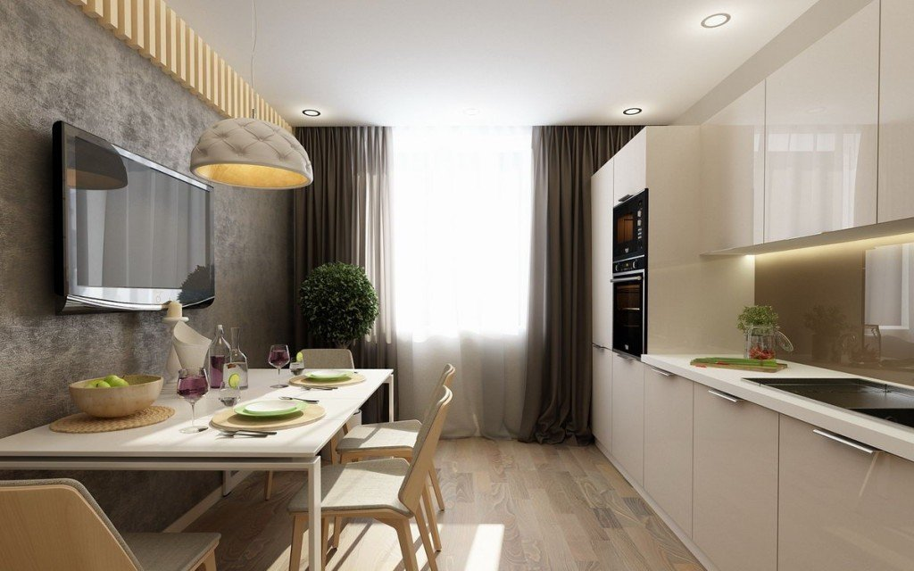 Телевизор на стене в интерьере кухни