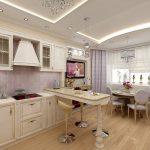 Красивый потолок с подсветкой на кухне