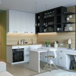 Черно-белая мебель в интерьере кухни