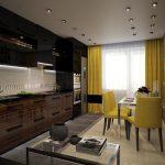 Желтые шторы и стулья в темном интерьере кухни