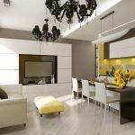 Желтые акценты в кофейно-белом интерьере кухни