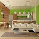 Ламинат на стене и потолке в столовой зоне