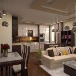 Глянцевая мебель в интерьере кухни