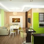 Салатовая мебель на кухне