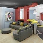 Черный, белый, красный, желтый и голубой цвета в интерьере кухни-студии