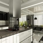 Стол-остров с электроплитой на кухне