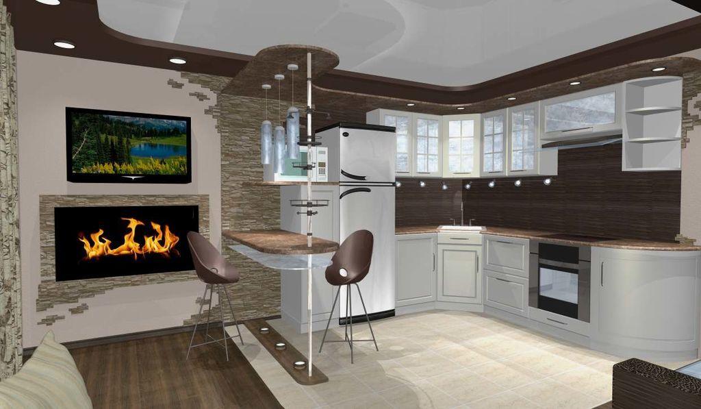 Современный дизайн кухни-студии