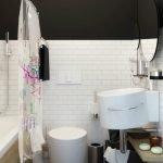 Контраст черного и белого цветов в ванной