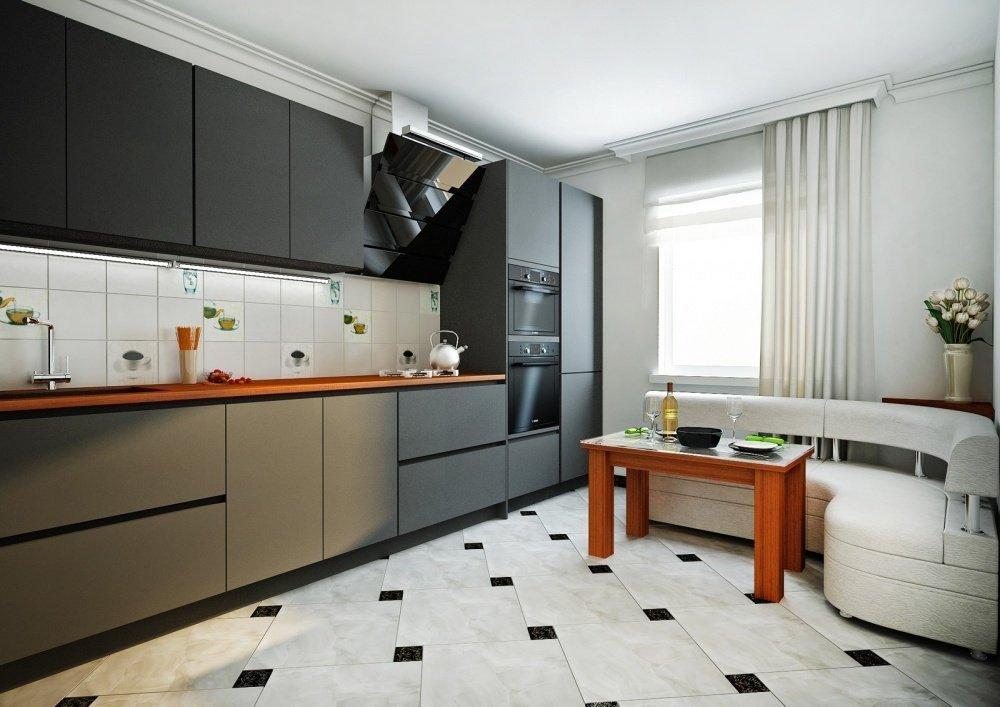 Черная мебель и белый уголок на кухне