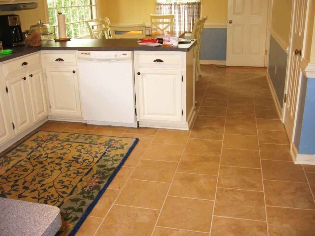 Коврик на полу в рабочей зоне на кухне