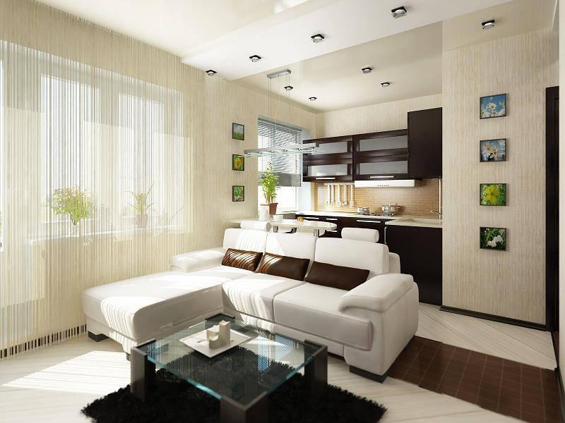 Дизайн квартиры-студии с двумя окнами