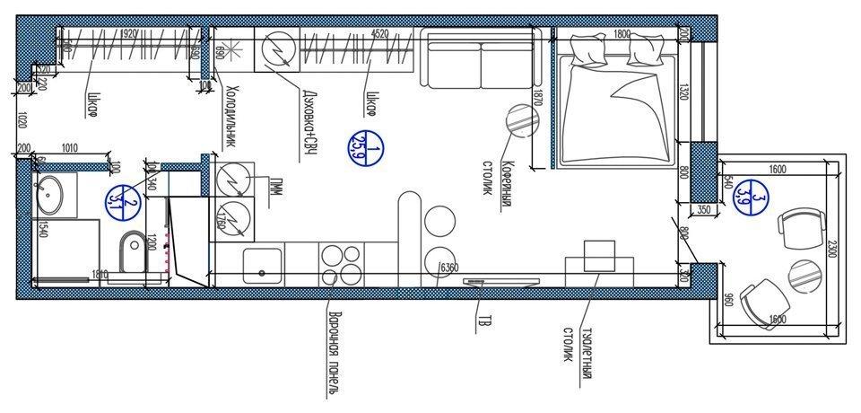 План квартиры-студии от 25 до 30 кв. м.