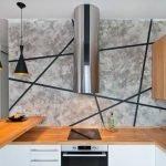 Стена под бетон на кухне