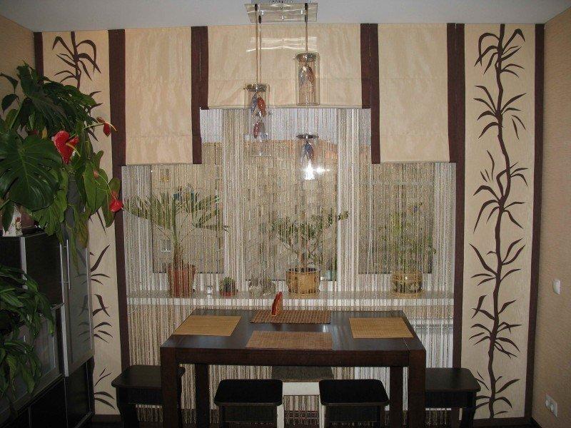 Японские панели в интерьере кухни