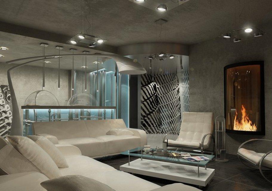 Гостиная в стиле хай-тек с электрокамином