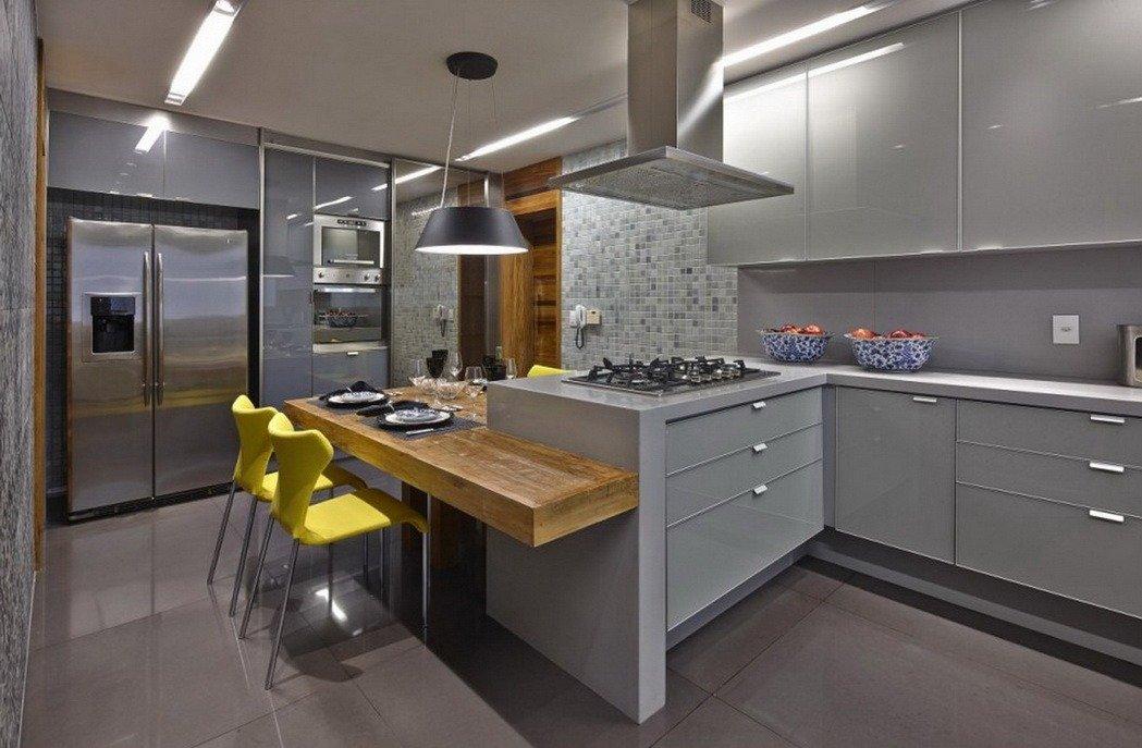 Кухня с дизайном в серых тонах