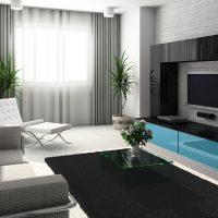 Интерьер с серыми обоями и голубой мебелью
