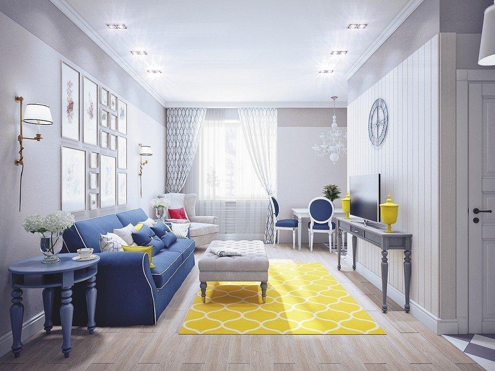 Серая гостиная с желтым ковром