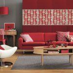 Красно-серый интерьер гостиной