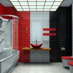 Интерьер ванной в красном, черном и сером цветах