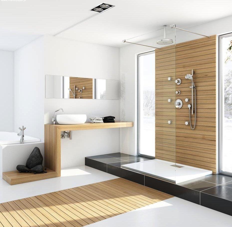 Светлое дерево в интерьере ванной