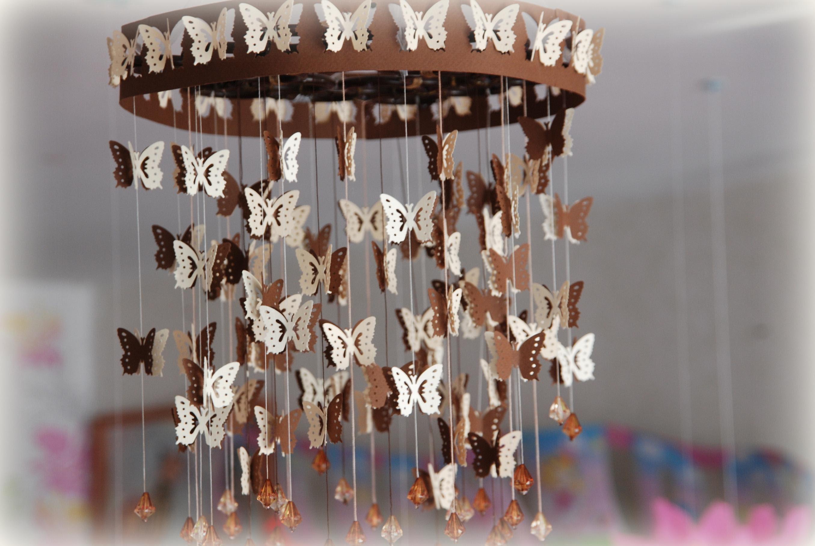 Бабочки украшение на люстру своими руками 93