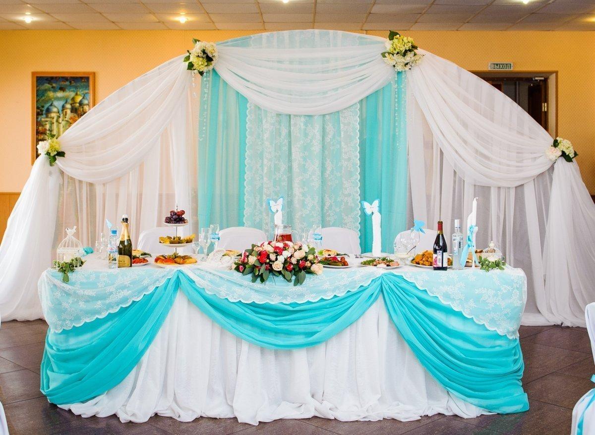 Бирюзовый цвет в оформлении свадебного зала