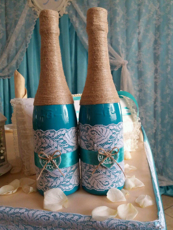 Как красиво украсить бутылку на свадьбу своими руками 73