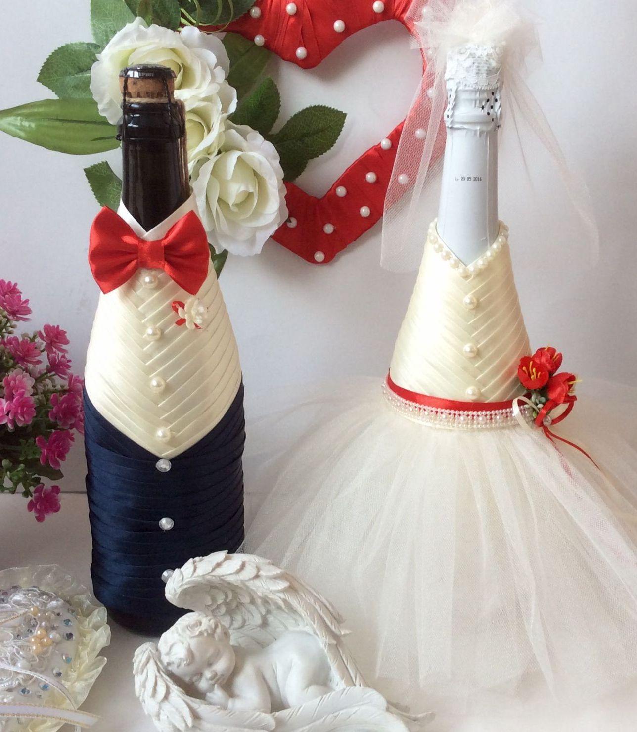 Свадебное украшение бутылок с шампанским своими руками