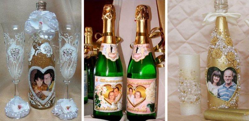 Украшение свадебных бутылок фотографиями