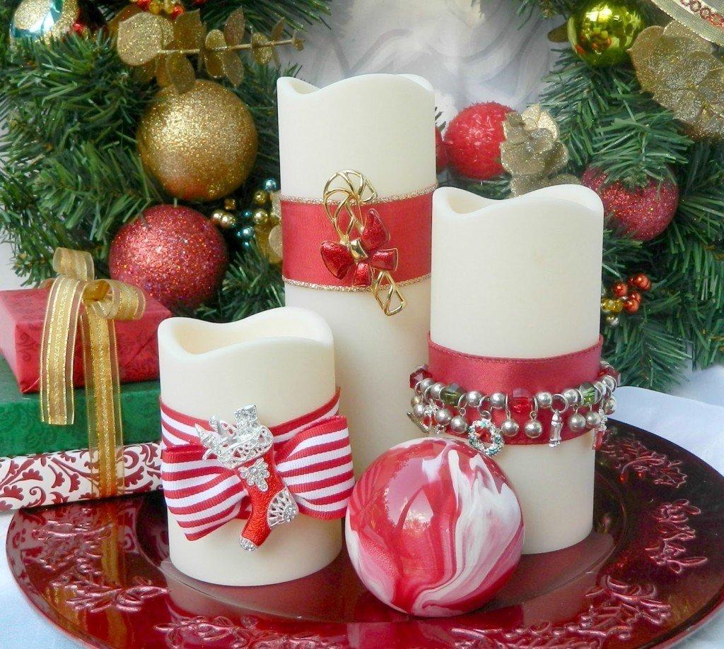 Декор новогодних свечей