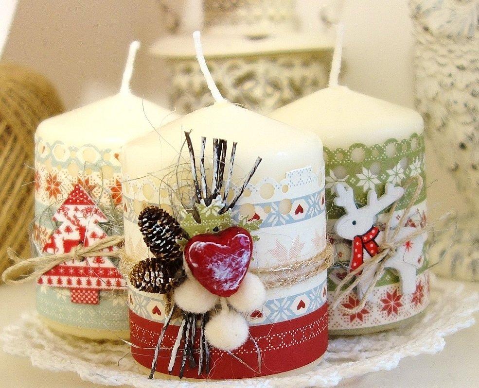 Рождественский декор свечей