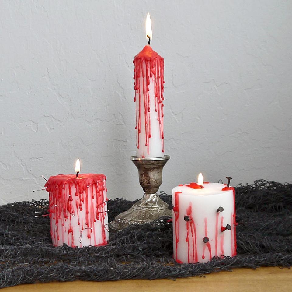 Декор свечей на Хэллоуин